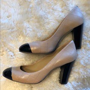 Cute Ann Taylor quilt-stitched cap-toe block heels